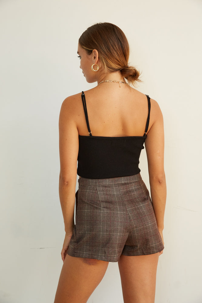 The back of these shorts are fitted and chic.