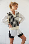 Cropped plaid sweater vest.