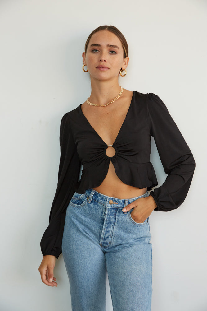 Bliss O Ring Long Sleeve Crop Top