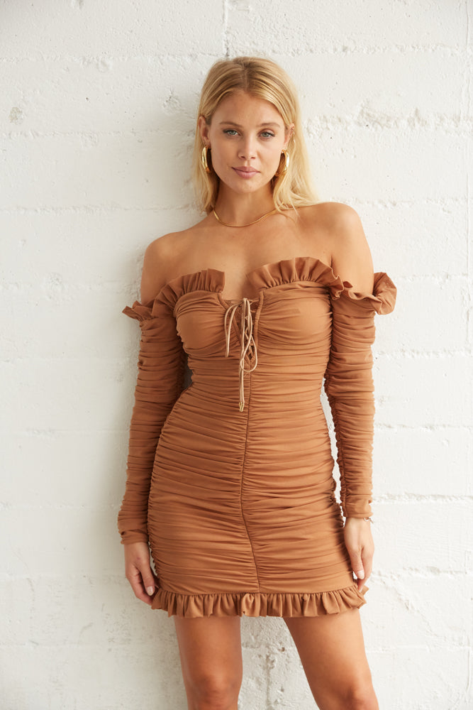 Brown ruched mini dress with off shoulder sleeves.