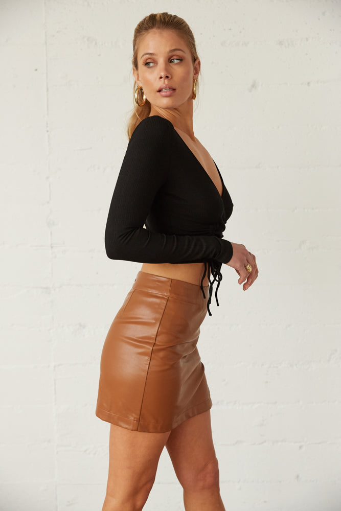 The side of this skirt is fitted for a flattering silhouette.