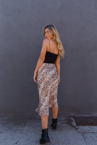 Native Daughters Lucy Snakeskin Skirt
