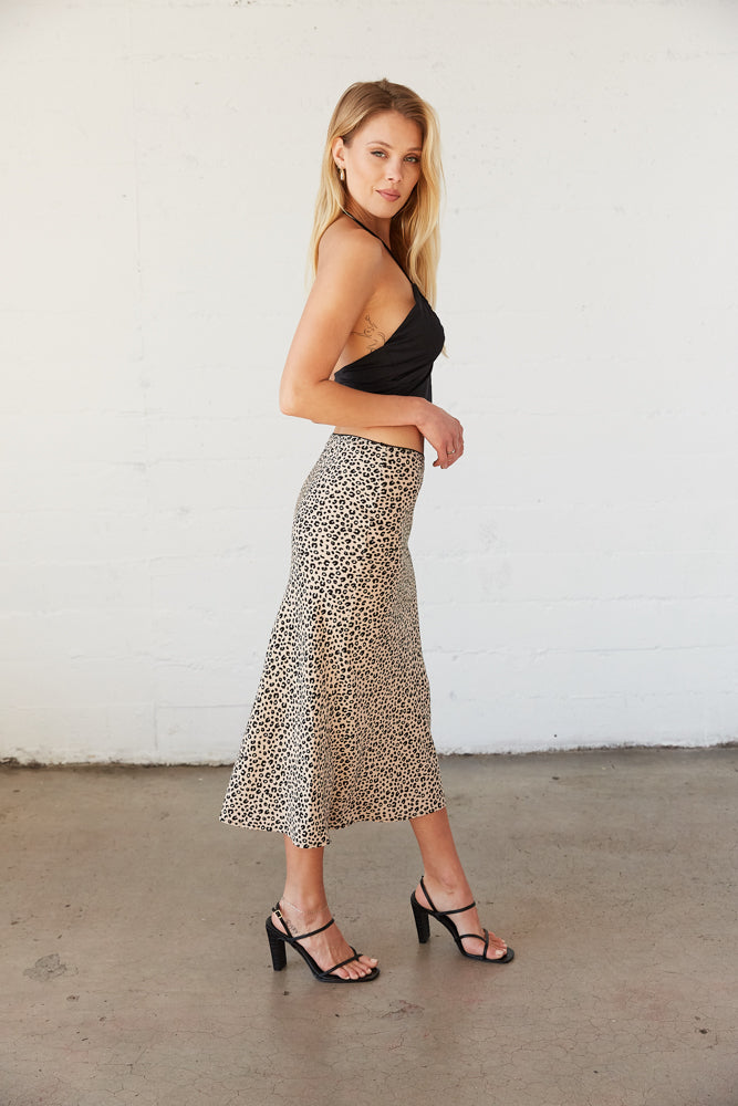 The midi skirt hits mid calf for an easy fit.