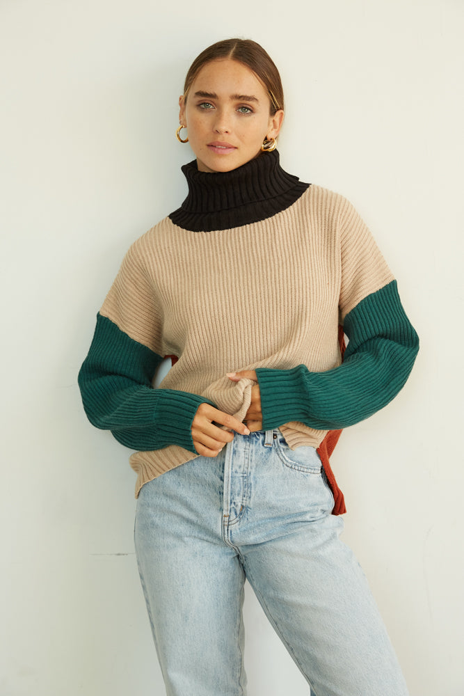 Oversized turtleneck sweater.