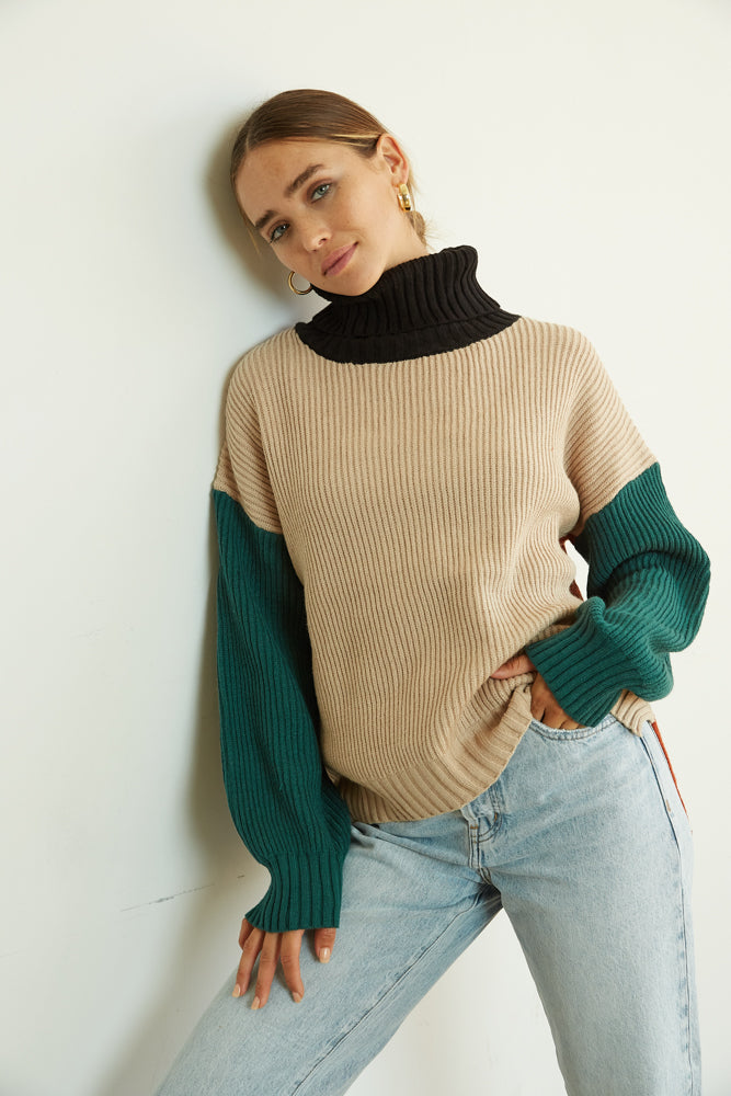 Color block turtleneck sweater.