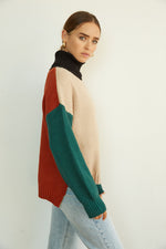 Aloha Autumn Colorblock Turtleneck Sweater