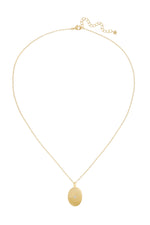 gold coin inspired chain necklace with cubic zirconia accent