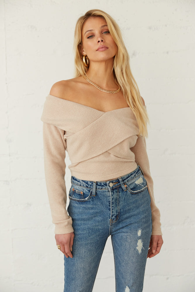 Off white off shoulder sweater.