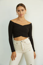 Black ribbed off shoulder top.