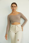 Taupe ribbed off shoulder top.