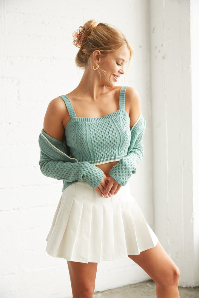 Green knit tank with matching crop cardigan.