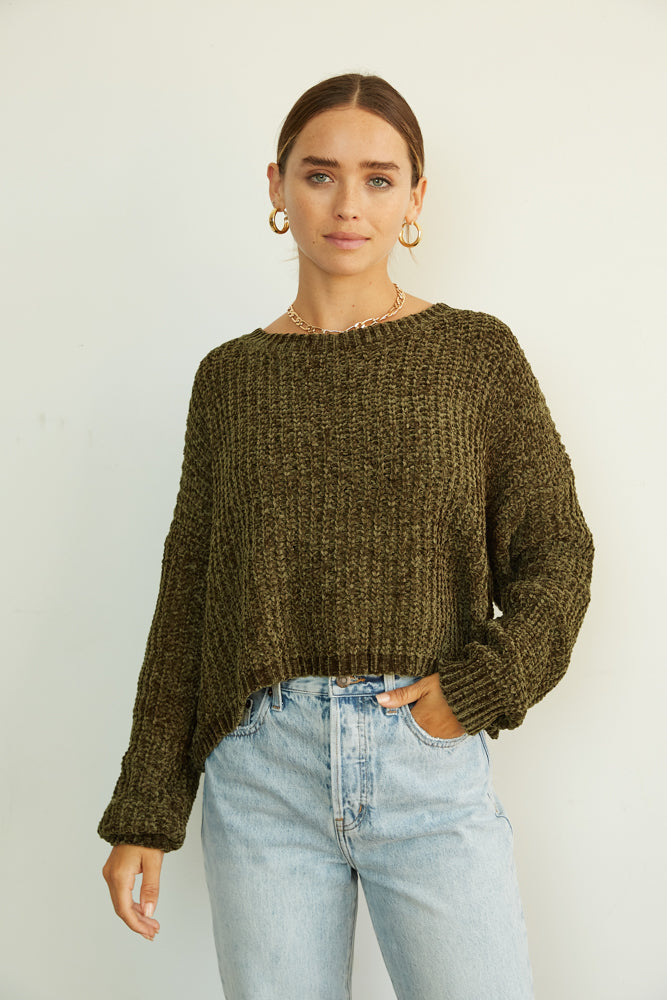 Carolina Crop Chenille Sweater