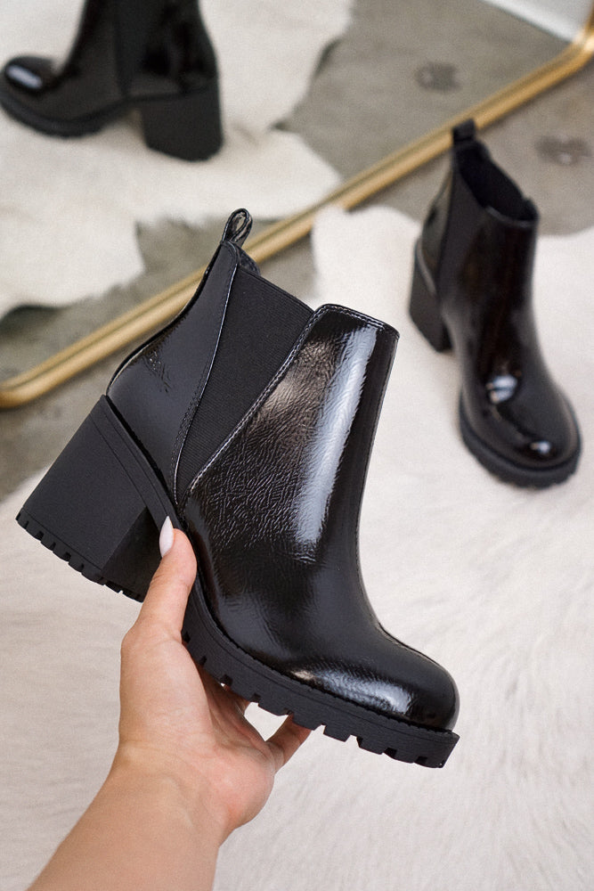 Lisbon Bootie in Patent Black