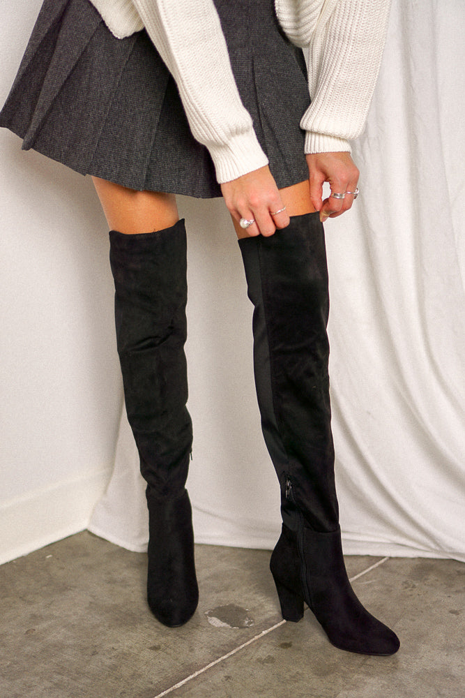 Canyons Over The Knee Boots In Black Suede