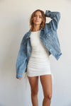 Oversized denim jacket.