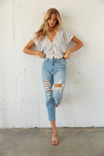 High waisted medium wash denim.