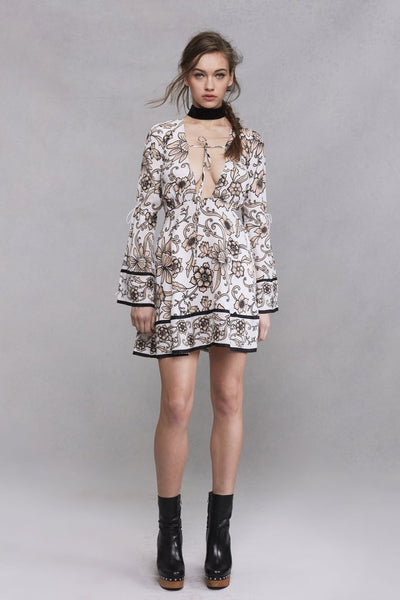 For Love & Lemons Ayla Plunging Dress in White Floral
