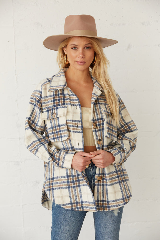 Blue and white flannel shirt jacket.