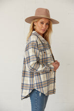 The side of this flannel shirt has long sleeves and a collar neckline.
