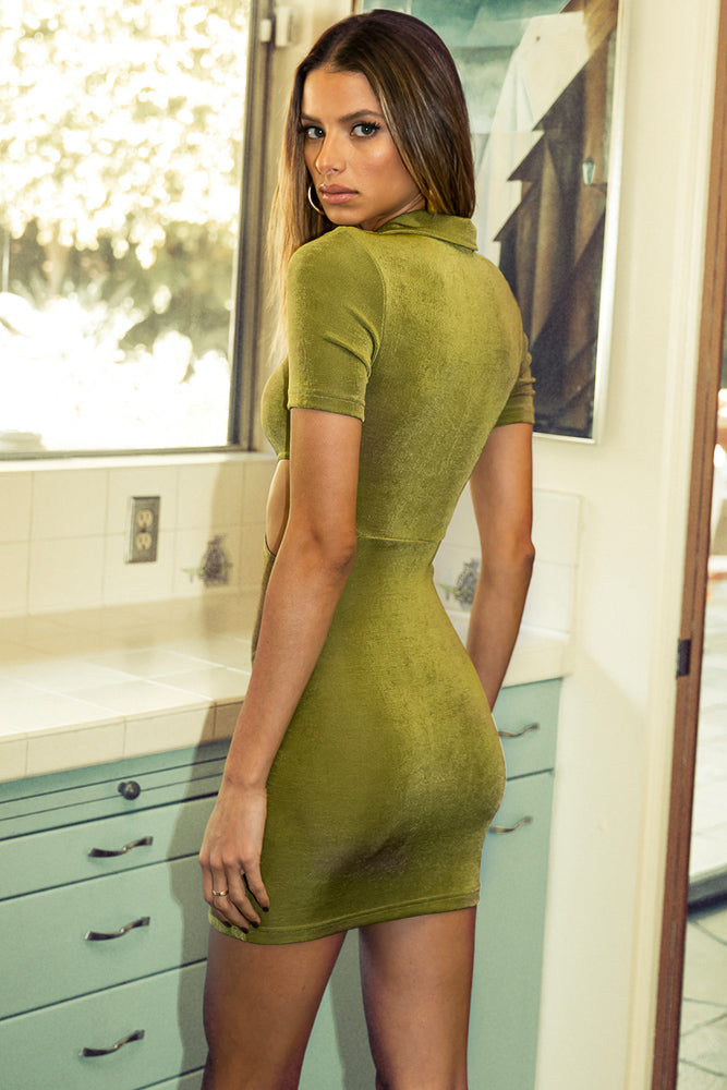 Clara Collared Cut Out Mini Dress In Grass
