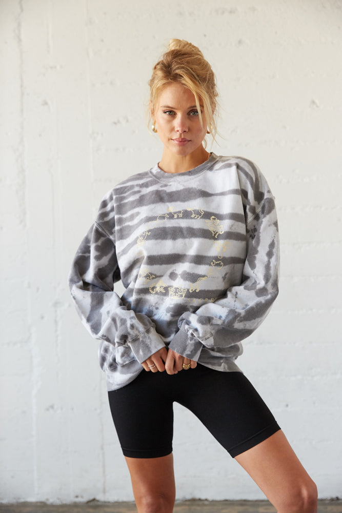 Grey and white bleached sweatshirt.