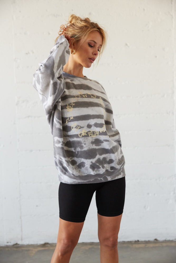 Bleached white and grey sweatshirt.