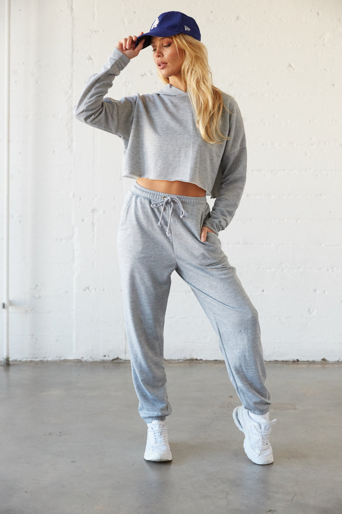 Grey cropped hoodie with matching joggers.