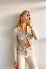 Cher Ribbed Knit Top In Beige