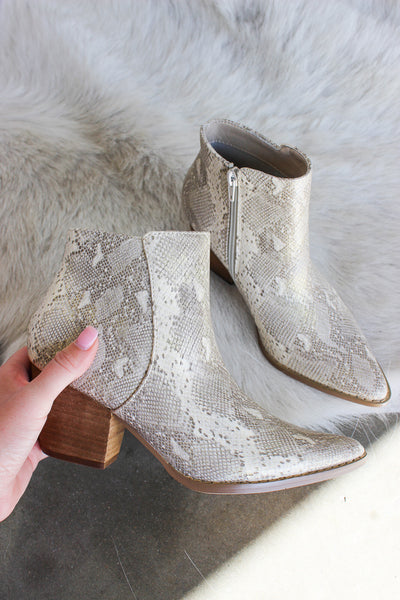 Matisse Astoria Boots In Natural Snakeskin