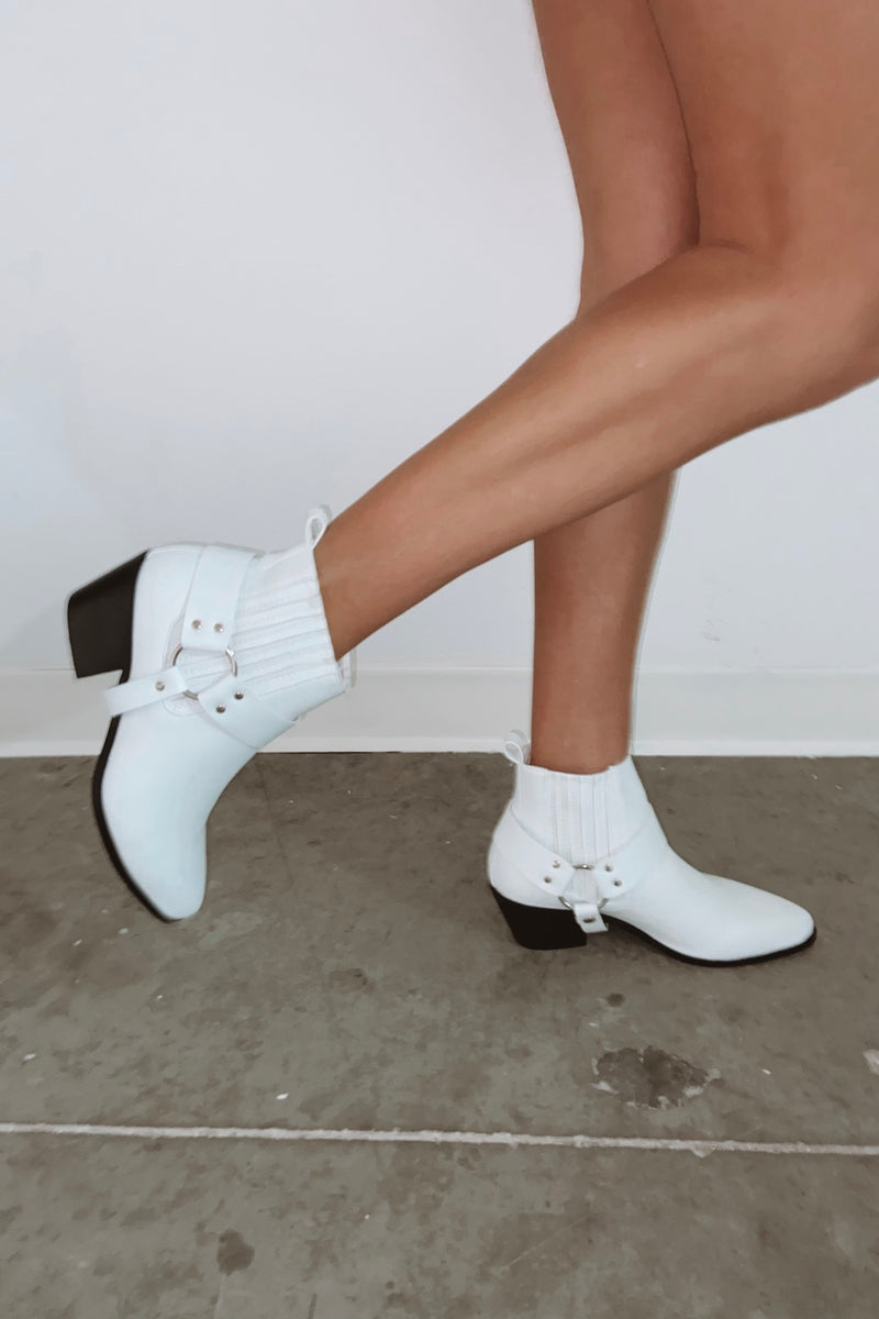 Shop white booties.
