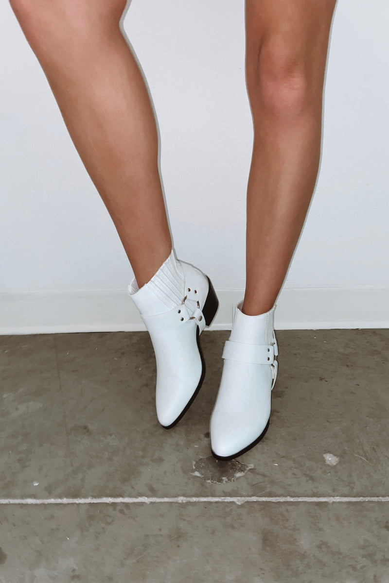Simple white booties.