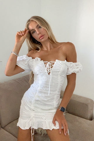 Break Free Eyelet Lace Up Dress