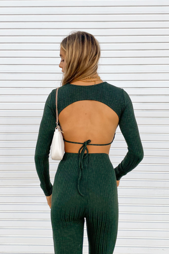 Gina Ribbed Open Back Top
