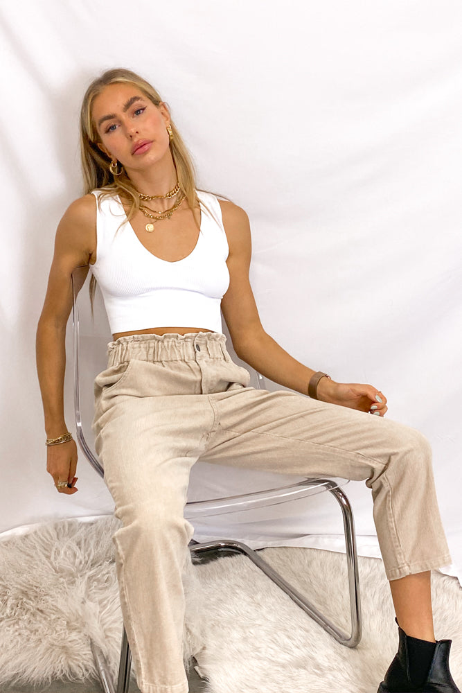 Janelle Corduroy Paperbag High Rise Pants