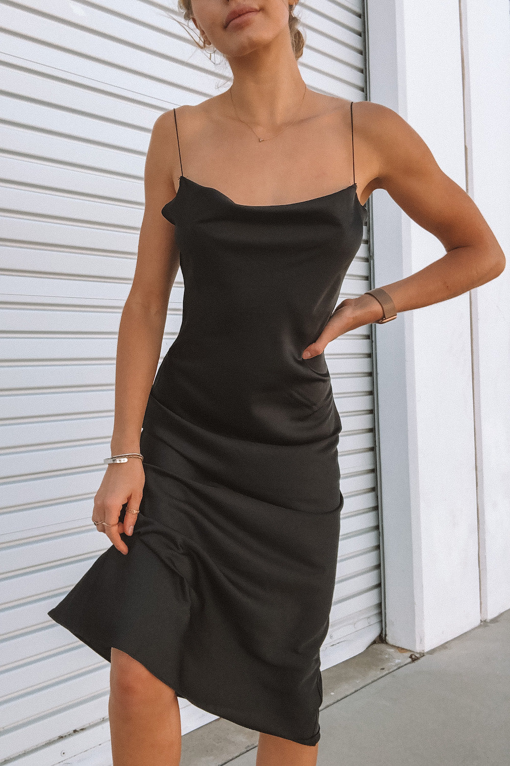 Black satin midi dress.