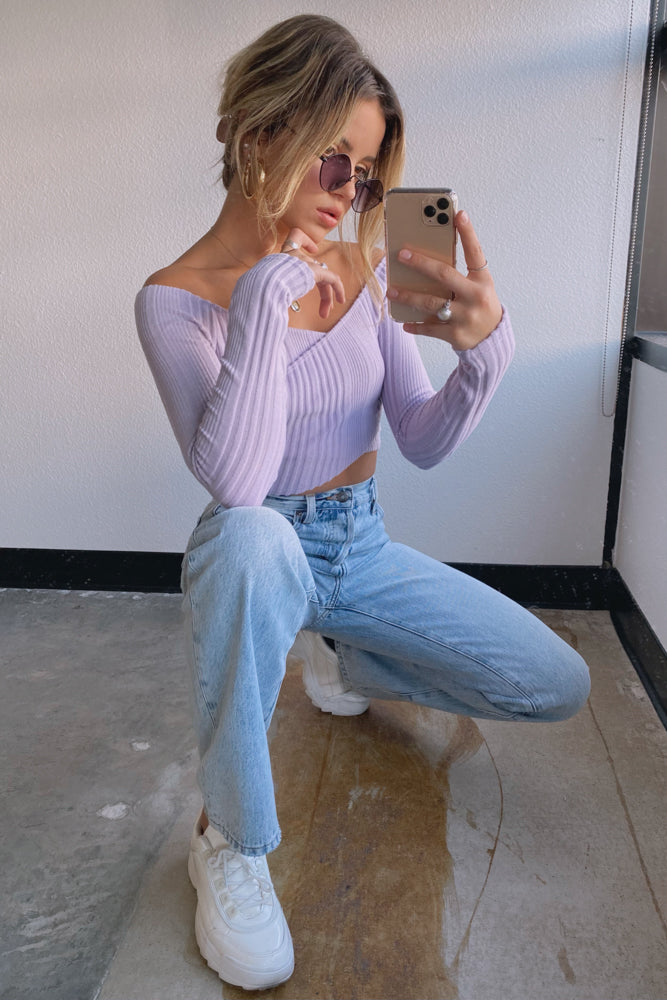 Lavender knit crop top.