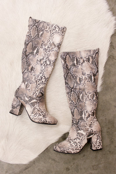 Peyton Snakeskin Slouch Boots