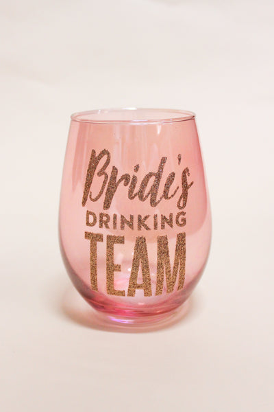 Bride's Drinking Team Stemless Wine Glass