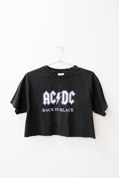ACDC Back In Black Crop Tee