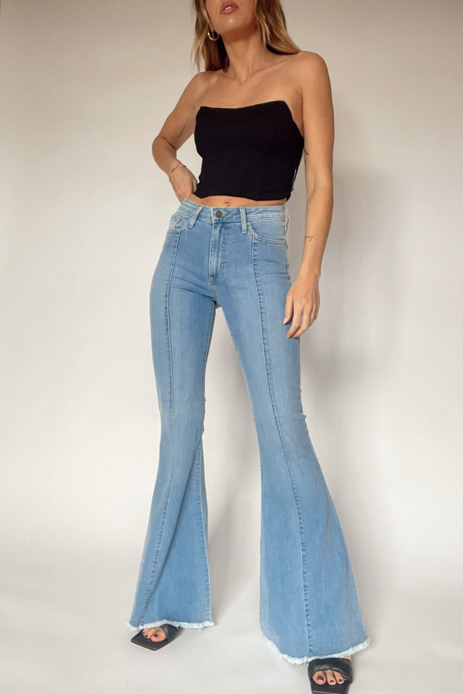High rise flare jeans.