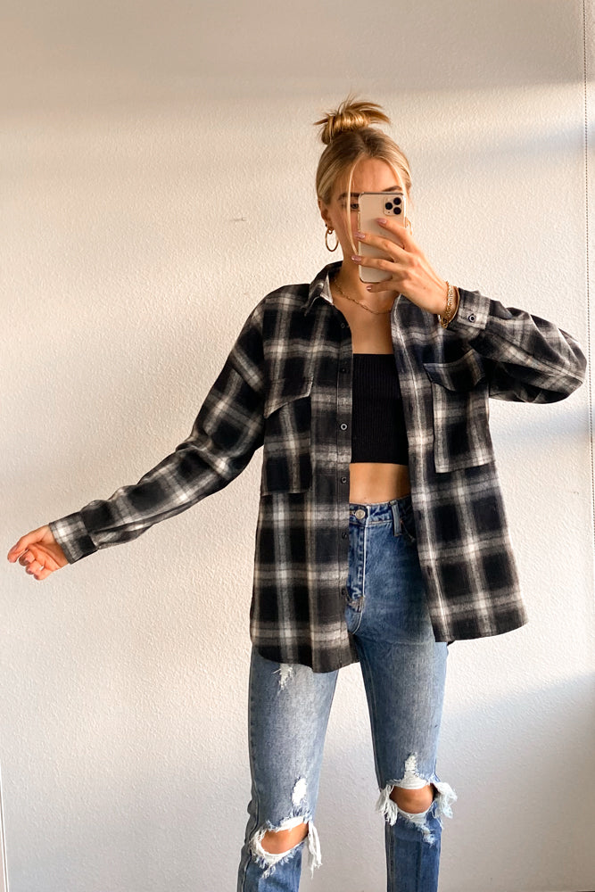 Brett Oversized Plaid Flannel Shirt