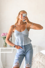 Chambray ruffle tank top.