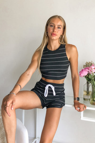 One Love Striped Short Set