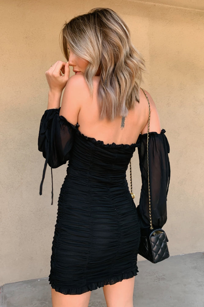 Charly Off Shoulder Ruched Mini Dress