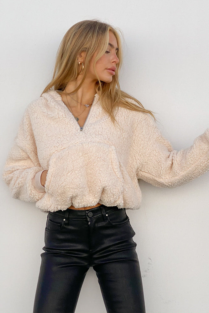 Crop teddy hooded jacket.