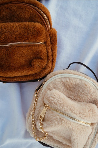 Simple Love Fur Backpack Purse