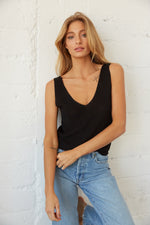 Black knit tank top.