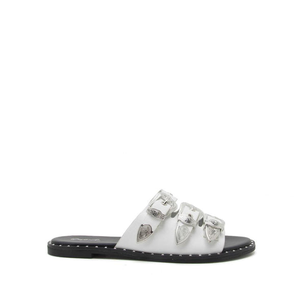 Roadtripper Studded Sandals In White