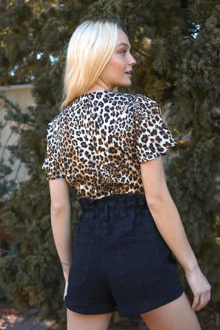 Crazy In Love Cheetah Cropped Wrap Top