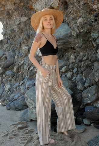 It Girl Striped Paperbag Pants